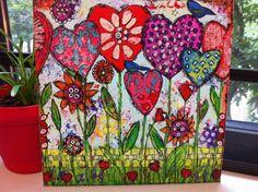 """Original Mixed Media on Canvas - Folk Art """"Hearts Grow with Love"""". $50.00, via Etsy."""