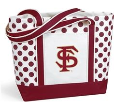 $24 Seeing spots? It's our new Polka Dot tote. Thick natural canvas is accented with your team color straps with double thick bottom and decorative dots. It features and outside pocket and shoulder length straps and the FSU Seminoles Logo
