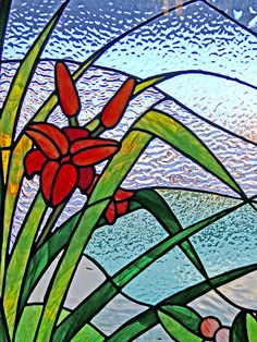 Love stained glass glass art, glass window, stainedglass, glasses, glass flower, red flowers, glass idea, stain glass, stained glass