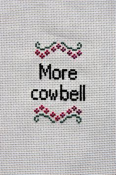 More Cowbell Cross Stitch by Stitchpocalypse on Etsy,
