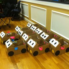 Garretts Cardboard cars for preschool party