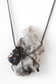CAVES hematite and quartz necklace.