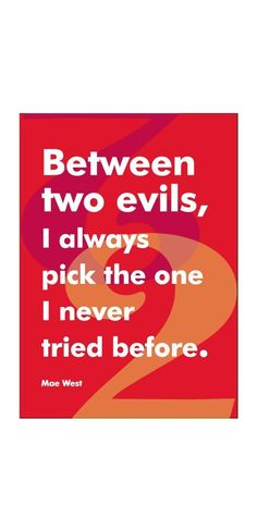 funny greeting card between two evils mae west quote by LizzyClara, $3.00
