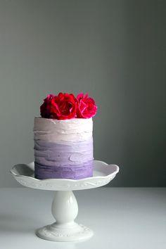 Purple Ombre Cake with Blackberry Compote #ombrecake #birdalshower #weddingcake #blackberrycompote