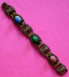 Oriental Scarab Antique Brass Vintage Link Bracelet.