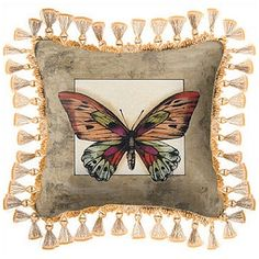 Butterfly Tapestry Pillow with Tassles