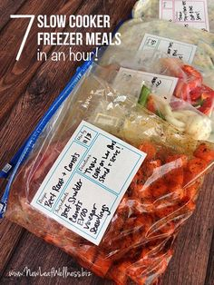 Seven slow cooker freezer meals in an hour!