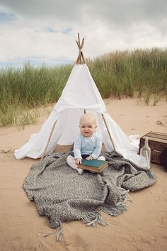 baby session outdoor beach tee pee
