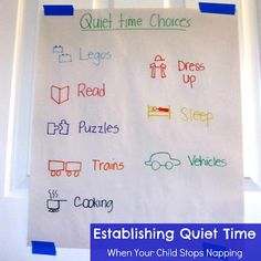 Establishing quiet time when your child stops napping... including 6 tips and some quiet time activity ideas.