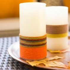 Give your LED candles a fun fall makeover in 5 minutes with a little yarn! No fire hazard since they are battery operated!
