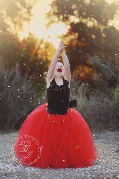 red tutu, red dress, flower girl
