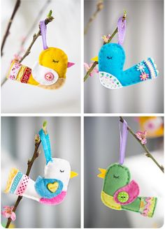 Birds. Wonder if Rachelle could sew these for us and make a mini mobile to match her room?