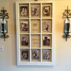 an old window and some photos ...perfect use for my  decorated window frames (currently with quilts/lace)