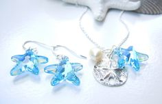 Aqua Blue Starfish & Sand Dollar Necklace & Matching Earrings by Camla.