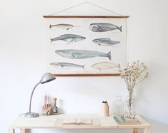 LARGE A1 Whales Canvas poster  vintage illustration by ARMINHO, €90.00
