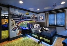 Awesome teen boy's bedroom with a Yankee sport theme. You could change this to reflect any sports team. idea, kid bedrooms, baseball, kid rooms, boy rooms, teen boys, wall mural, bedroom designs, teen boy bedrooms