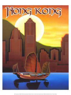 vintage posters, hong kong, vintag poster, hongkong, vintag travel