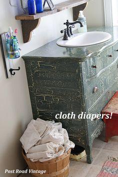 hook, vaniti, country bathrooms, old dressers, paint