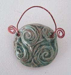 Tiny Swirly Blue green Ceramic Wall Pocket/ by JoyceSloanim, $10.00