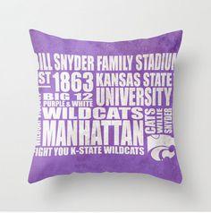 Kansas State University Wildcats Typography Pillow