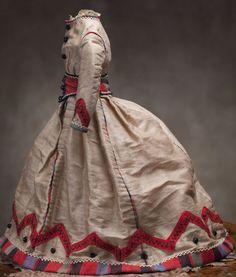 Antique French Original Tan Silk Fashion Doll Dress. Love it! | Dolls