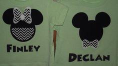 Chevron Minnie Mickey Mouse - Disney Birthday Family Custom T-Shirt Personalized Applique $18.00 each.