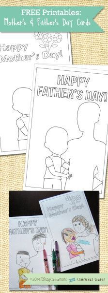 Free mother's day card to print out! Kids will love coloring these to look like them + mom (or dad)