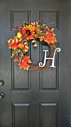 It's Fall Ya'll - Brilliant Wreath for Fall With Monogram, Fall Foliage Wreath, Glitter Wreath, Autumn Wreath on Etsy, $65.00