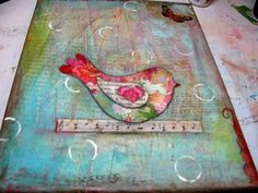 """Mod Podge Monday: Mixed-Media Tutorial """"Freedom"""", Bird in Cage. I love several parts of this project like the """"patchwork"""" bird and the sheet music background."""