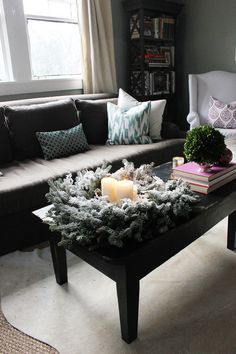 Turn a simple green wreath into a holiday centerpiece for your dining room or coffee table! #christmas
