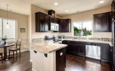 Love the dark cabinet look with a lighter countertop (Greenfield Park in Everett)