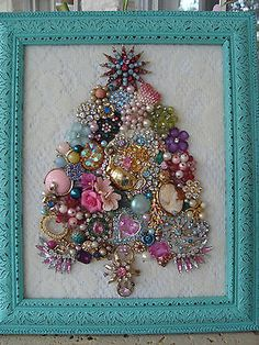 Shabby Cottage Vintage Jewelry Framed CHRISTMAS TREE ~TEAPOT*ROSES*CAMEOS~