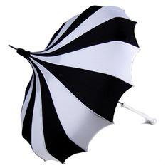 Black & White Pinwheel Pagoda Umbrella