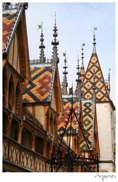 Typical Burgundian roofs in the medieval town of Beaune, in the heart of the Burgundy wine region.