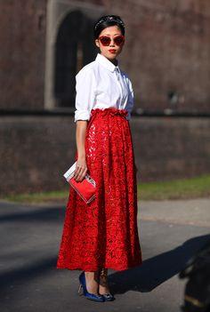 Red Lace | Milan Street fashion. #fashion  #street