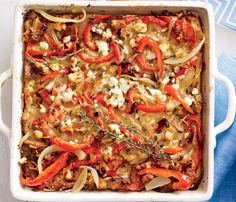 Skinny Holiday Recipes: Bell Pepper and Goat Cheese Strata. #SkinnyHolidaySweeps