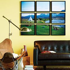 Have a photo lab make a 36- by 48-inch print; cut it into 12- by 16-inch tiles and hang them in frames for a photo mosaic.