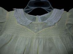 Stunning Vintage Yellow Smocked Batiste Baby Dress