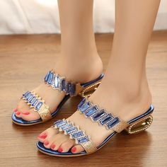 summer designer gold and blue flat sandals gladiator style sexy sandals shoes woman