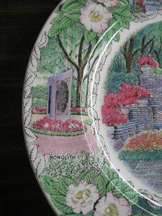 Decorative Dishes - Transferware Green Pink Blue Alabama Gardens Vintage Souvenir Plate England, $34.99 (http://www.decorativedishes.net/transferware-green-pink-blue-alabama-gardens-vintage-souvenir-plate-england/) souvenir plate, vintag plate, vintag souvenir, vintage green plates