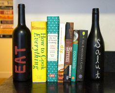 wine bottle crafts, craft books, diy bookends, bookend wine, kitchen, cookbook bookends, wine bottles