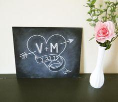 Heart & Arrow Chalkboard Sign - Wedding Chalkboard - Rustic Wedding - Custom Wedding / Anniversary Gift - Shabby Chic Chalkboard Decor