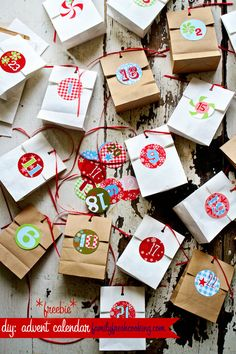 DIY: Advent Calendar- Includes templates to print the numbers yourself-- you could hang these treat bags from the Christmas tree and search for/open one each day!