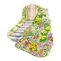 Slope Garden Plan.  Guide for this garden includes a larger version of the illustration, a detailed layout diagram, a list of plants for the garden as shown, and complete instructions for installing the garden.