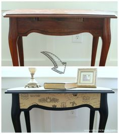 $5 Thrifty French Paper Decoupage Table Makeover - Before and After Side - artsychicksrule.com #decoupage #french