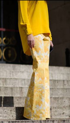 yellow- Paris Fashion Week 2013...bell bottoms are back hmm..Like it OR Leave it?