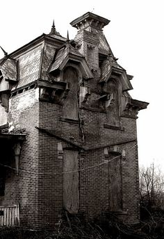 Abandoned Second Empire style house in Fremont, Ohio.
