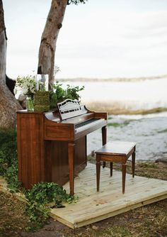Bringing an instrument outside will keep you from losing the tradition of music as you walk down the aisle.  Photo by Kent Bristol Photography