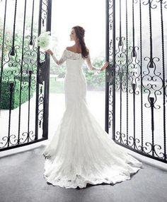 Luxury lace off-shoulder fish tail train long-sleeve wedding dress on Etsy, $179.90