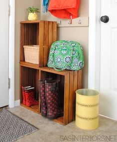 An Easy Upgrade for a Small Space. This would be nice again for 'mud room' or any entry way space to store on the go items.